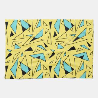 Modelo de los triángulos - amarillo y turquesa toalla de cocina
