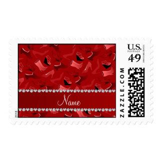 Modelo de los zapatos de las mujeres rojas sellos postales