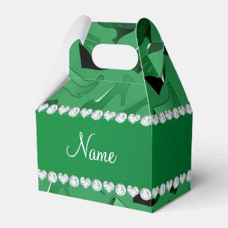 Modelo de los zapatos de las mujeres verdes caja para regalos
