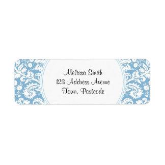 Modelo de lujo azul del damasco etiqueta de remitente