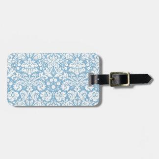Modelo de lujo azul del damasco etiquetas de maletas