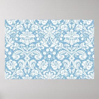 Modelo de lujo azul del damasco póster