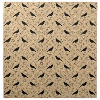 Modelo de lujo con los cuervos. Negro y beige Servilletas De Papel