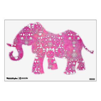 Modelo de lujo del damasco del elefante rosado vinilo decorativo