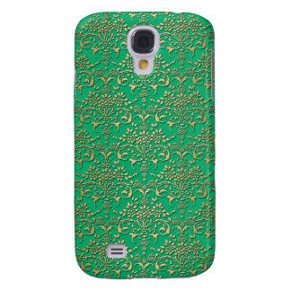 Modelo de lujo del damasco del verde y del oro