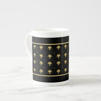 Modelo de lujo del damasco del vintage del negro y taza de porcelana