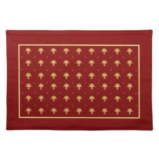 Modelo de lujo del damasco del vintage del rojo y  manteles