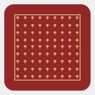 Modelo de lujo del damasco del vintage del rojo y pegatina cuadrada