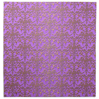 Modelo de lujo del damasco en púrpura y oro servilleta imprimida