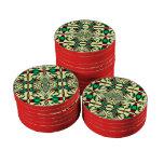Modelo de lujo rojo verde del navidad juego de fichas de póquer