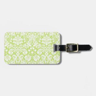 Modelo de lujo verde del damasco etiquetas para maletas