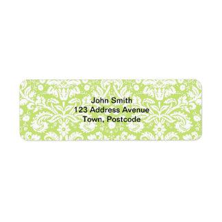 Modelo de lujo verde del damasco etiquetas de remite