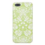Modelo de lujo verde del damasco iPhone 5 coberturas