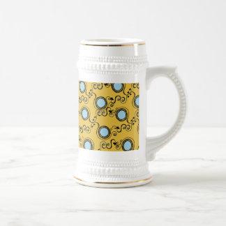 Modelo de lunar amarillo de la mostaza jarra de cerveza