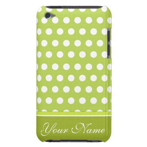 Modelo de lunar blanco verde iPod Case-Mate protectores