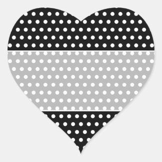 Modelo de lunar blanco y negro Manchado Calcomanía De Corazón