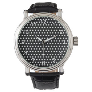 Modelo de lunar blanco y negro. Manchado Relojes De Pulsera