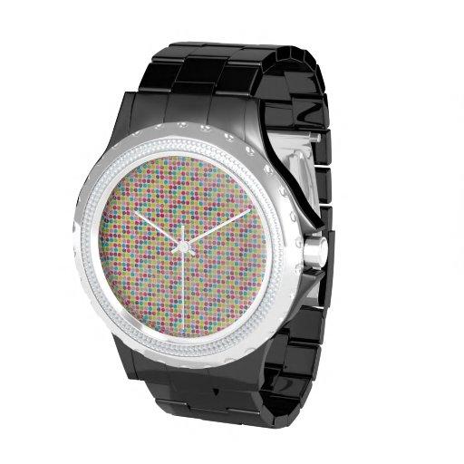 Modelo de lunar colorido del círculo del Grunge Relojes De Mano