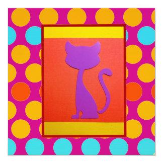 Modelo de lunar colorido del gato del gatito invitación 13,3 cm x 13,3cm