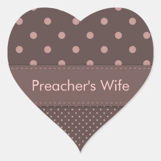 Modelo de lunar de la esposa del predicador pegatina en forma de corazón