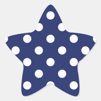 Modelo de lunar de los azules marinos y del blanco pegatina en forma de estrella