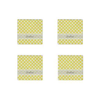 Modelo de lunar de moda blanco amarillo de la imán de piedra