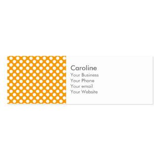Modelo de lunar de moda blanco anaranjado de la tarjetas de visita mini