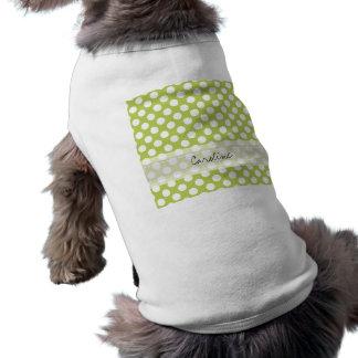 Modelo de lunar de moda blanco de la verde lima playera sin mangas para perro