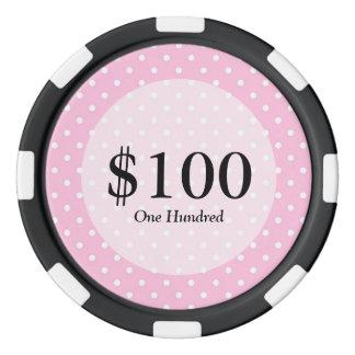 Modelo de lunar del rosa en colores pastel juego de fichas de póquer