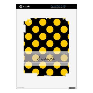 Modelo de lunar elegante amarillo negro del skin para el iPad 2