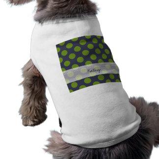 Modelo de lunar elegante del verde de azules playera sin mangas para perro