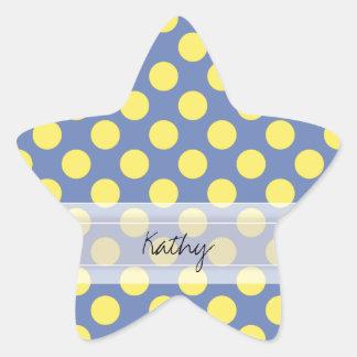 Modelo de lunar elegante lindo amarillo azul del pegatina en forma de estrella