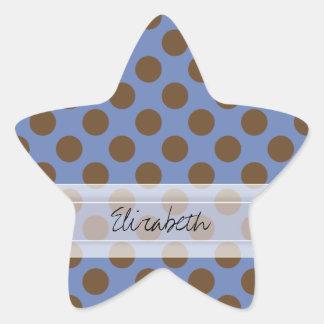 Modelo de lunar elegante lindo azul de Brown del Pegatina En Forma De Estrella