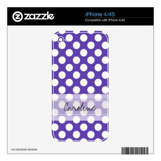 Modelo de lunar elegante lindo blanco violeta del skins para eliPhone 4
