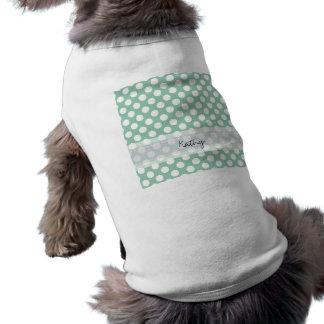 Modelo de lunar elegante lindo de la verde menta playera sin mangas para perro