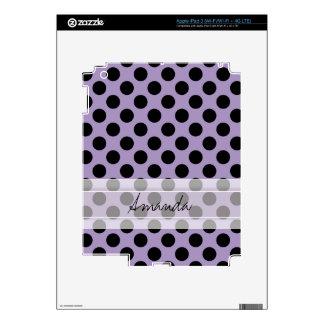 Modelo de lunar elegante lindo negro púrpura del iPad 3 pegatinas skins