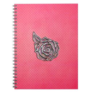 Modelo de lunar floral femenino lindo rosado spiral notebooks