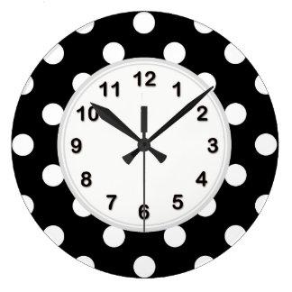 Modelo de lunar grande blanco negro reloj