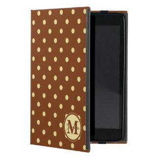 Modelo de lunar poner crema de Brown del monograma iPad Mini Funda