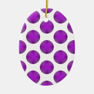 Modelo de lunar púrpura de la pelota de golf adorno ovalado de cerámica