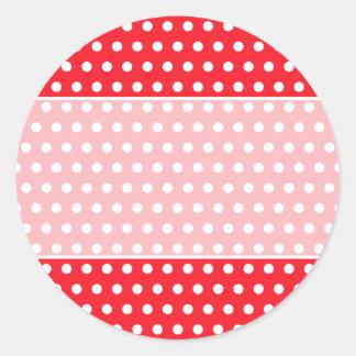 Modelo de lunar rojo y blanco. Manchado Pegatina Redonda