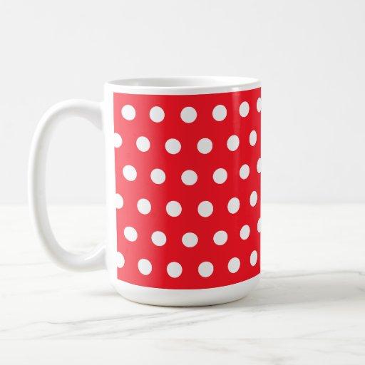 Modelo de lunar rojo y blanco. Manchado Tazas De Café