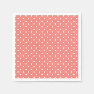 Modelo de lunar rosado blanco y coralino servilleta de papel