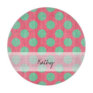 Modelo de lunar rosado coralino del verde del áloe tabla para cortar