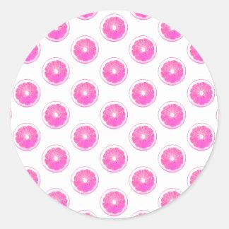 Modelo de lunar rosado de la limonada pegatina redonda