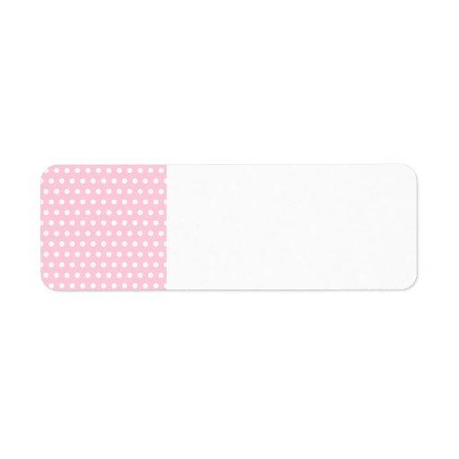 Modelo de lunar rosado y blanco. Manchado Etiqueta De Remite