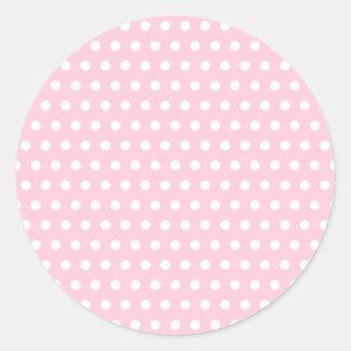 Modelo de lunar rosado y blanco. Manchado Etiquetas Redondas