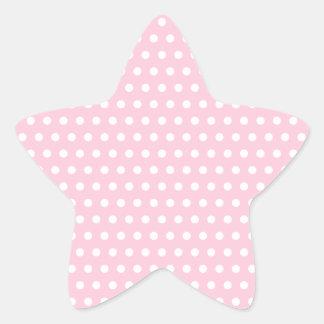 Modelo de lunar rosado y blanco. Manchado Pegatina En Forma De Estrella
