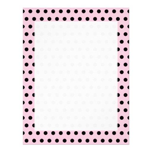 Modelo de lunar rosado y negro. Manchado Plantilla De Membrete