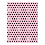 Modelo de lunar rosado y negro. Manchado Tarjetas Postales